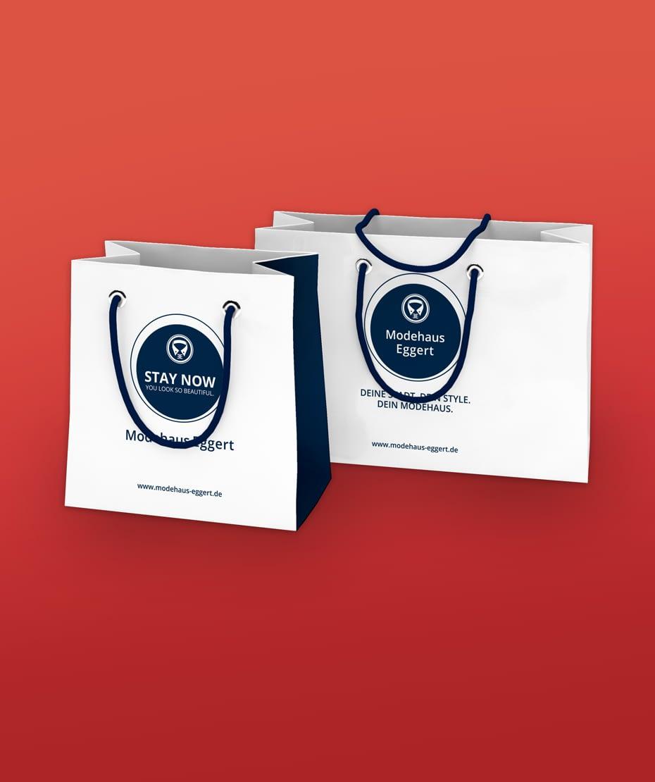 Logo-Entwicklung auf Tasche als Werbeartikel für Modehaus Eggert