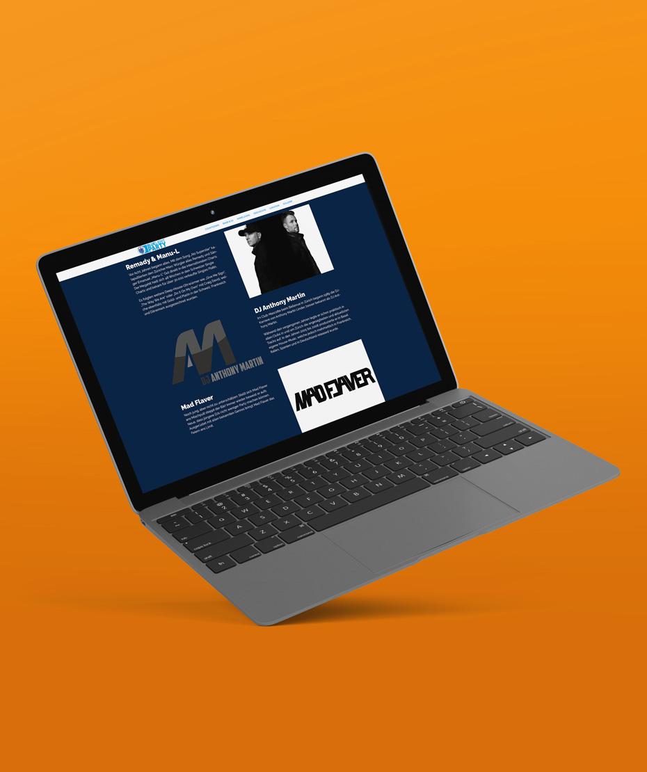 """Webdesign für """"BLUELIGHT PARTY"""" (Laptop-Ansicht)"""