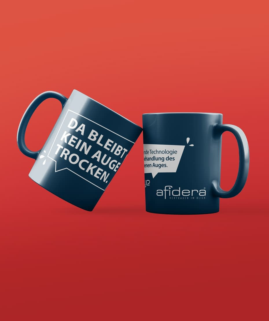 Gestaltung Kaffeetasse für Afidera als Werbeartikel