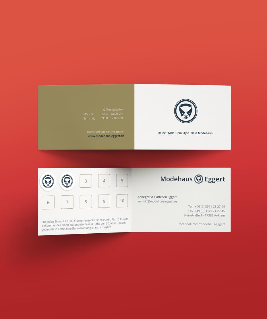 Werbe-Idee Punktesammelkarte mit Logodesign Modehaus Eggert