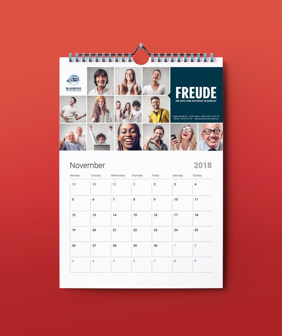 Werbegeschenk Kalender für Autohaus