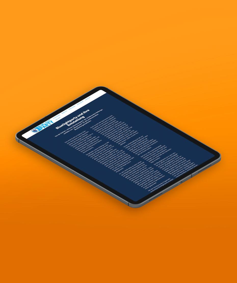 """Webdesign für """"BLUELIGHT PARTY"""" im Responsive Design"""