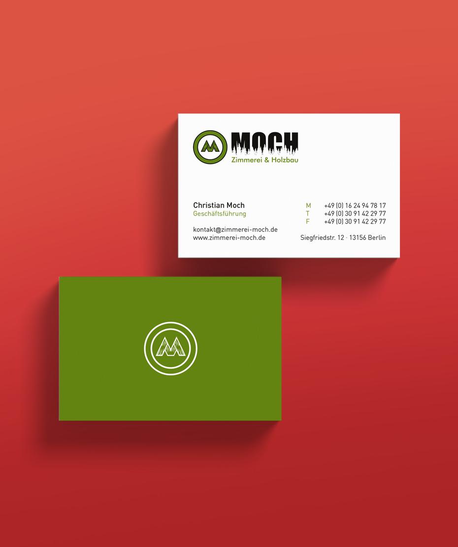 Visitenkarten-Design & Logodesign Zimmerei Moch
