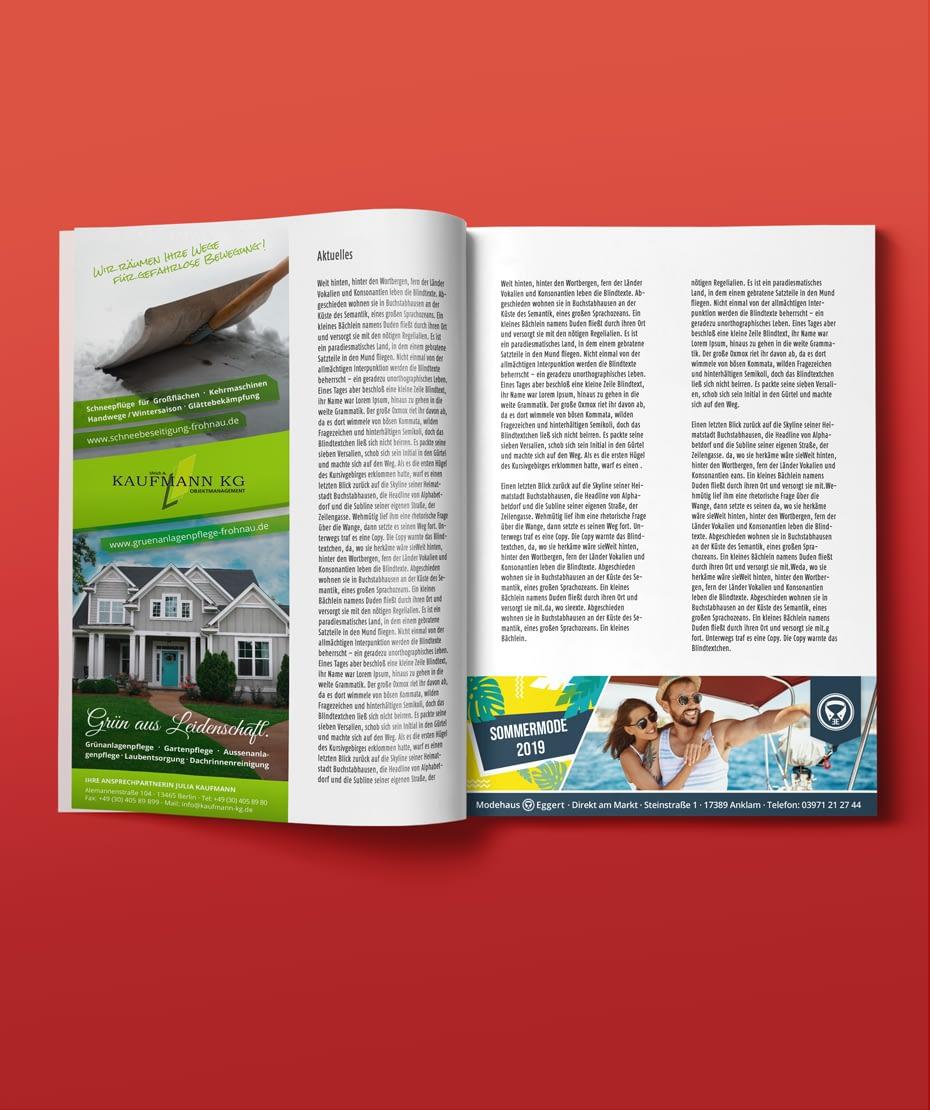 Drucken von Werbe-Anzeigen & Artikeln für Broschüren, Kataloge u. Zeitschriften