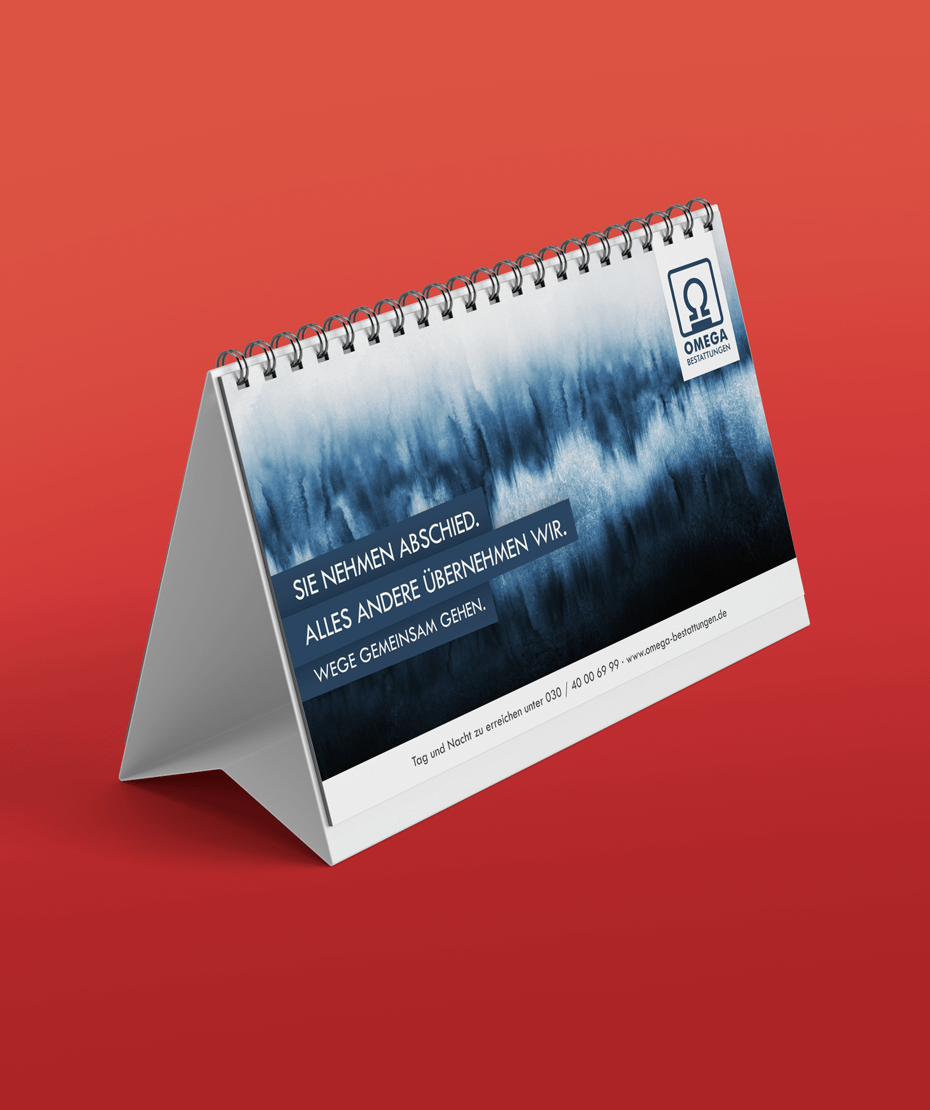 Tisch-Kalender als Werbeartikel Omega Bestattungen