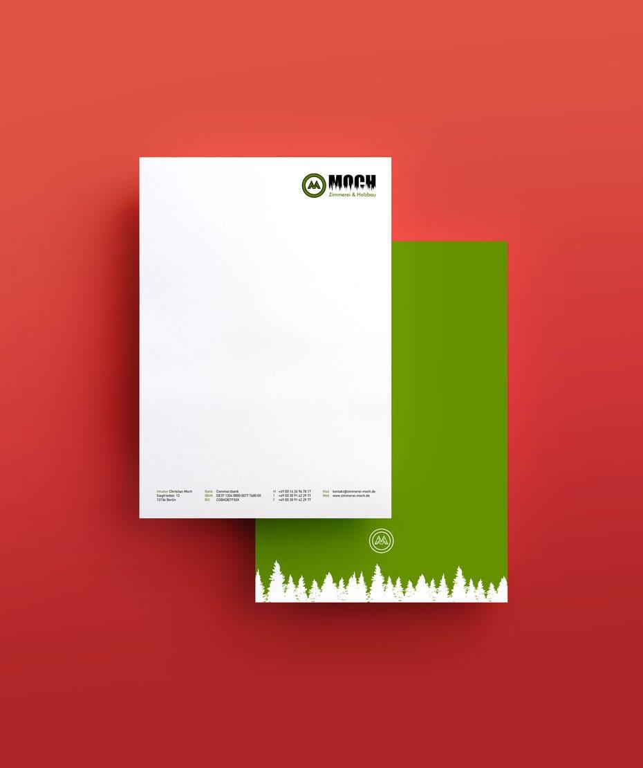 Briefpapier / Notizblock mit entwickeltem Logo für Zimmerei Moch