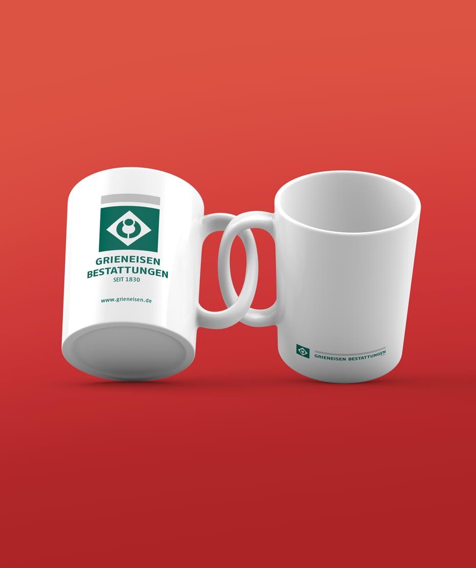 Kaffeetopf Werbegeschenk Grieneisen Bestattungen