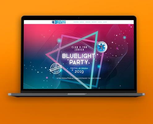 """Webentwicklung für """"BLUELIGHT PARTY"""""""