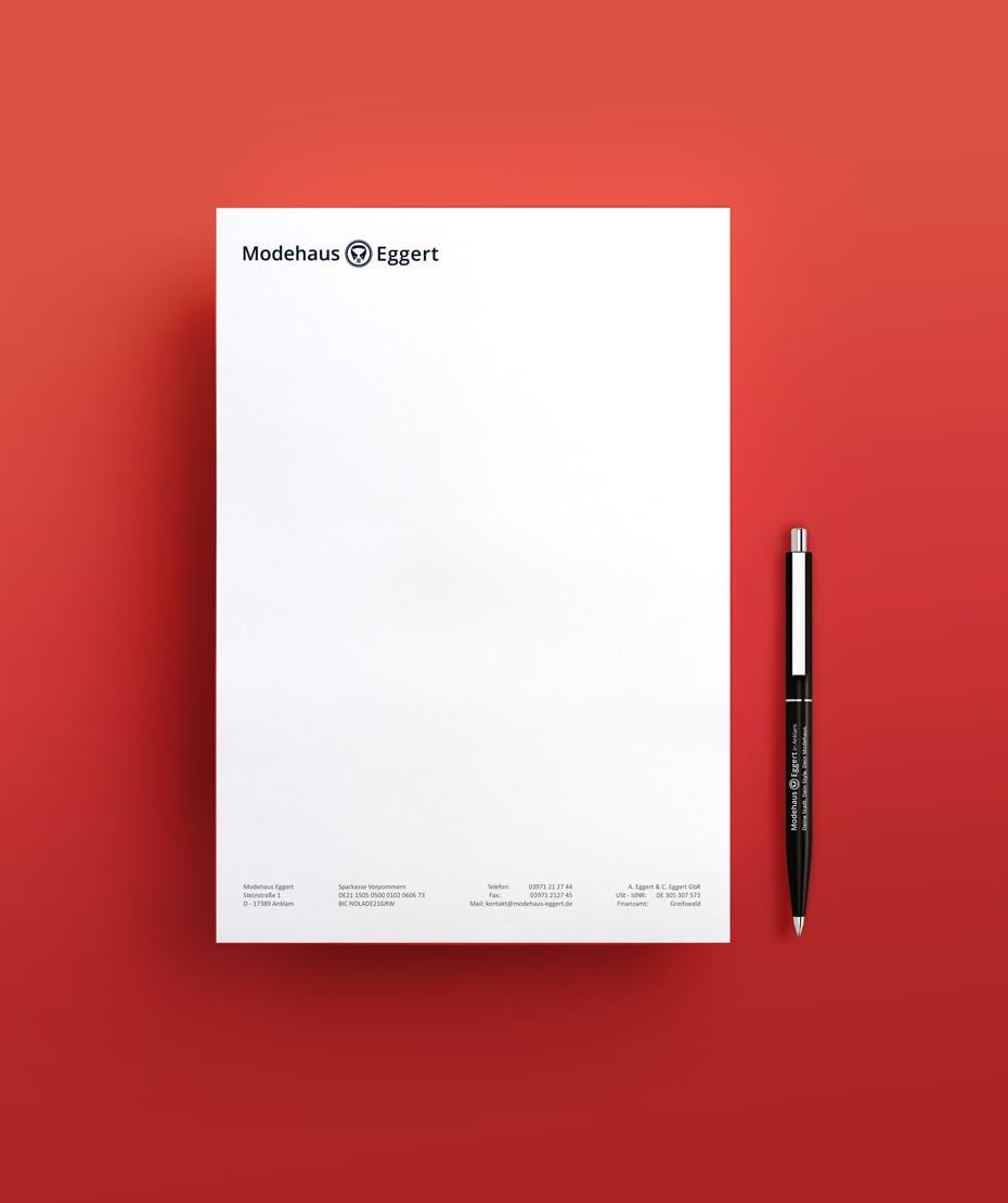 Logo-Design auf Schreibblock - Modehaus Eggert