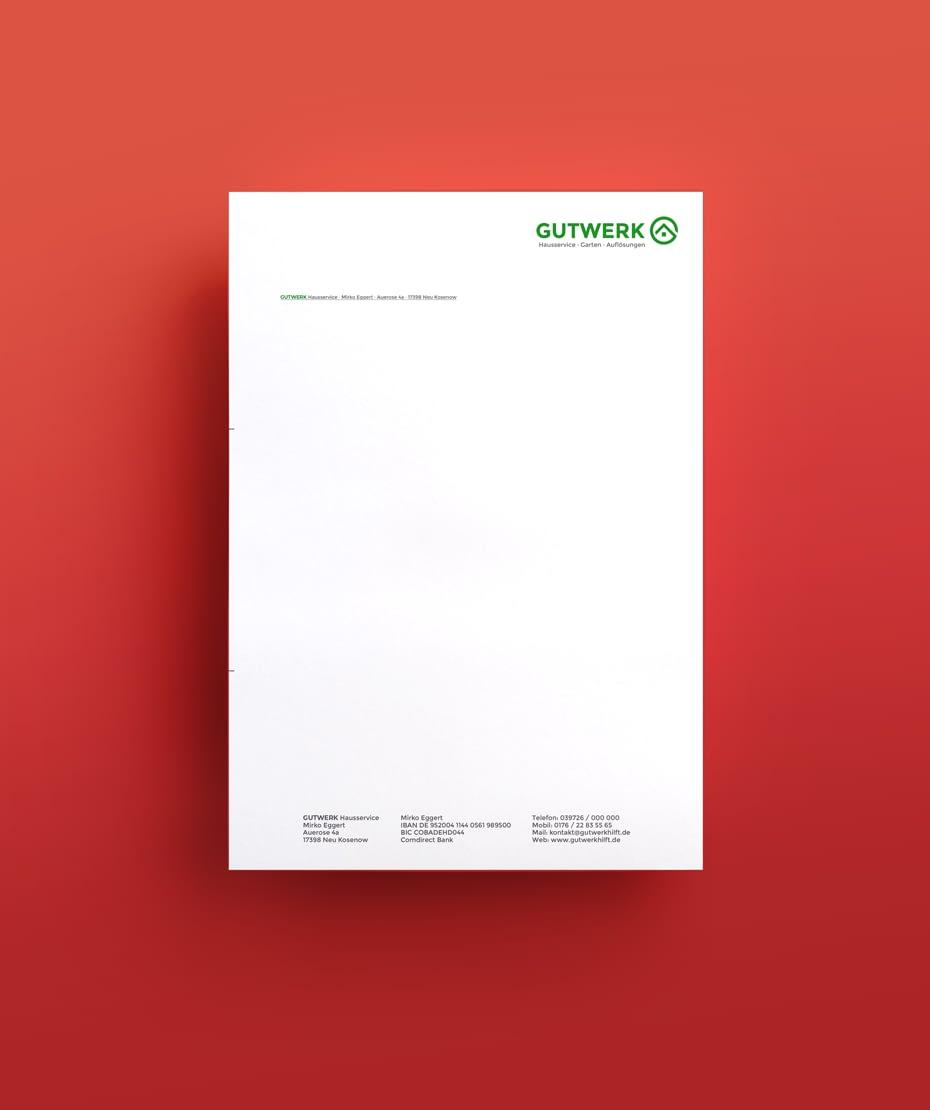 Briefpapier mit Logodesign - Fa. Gutwerk