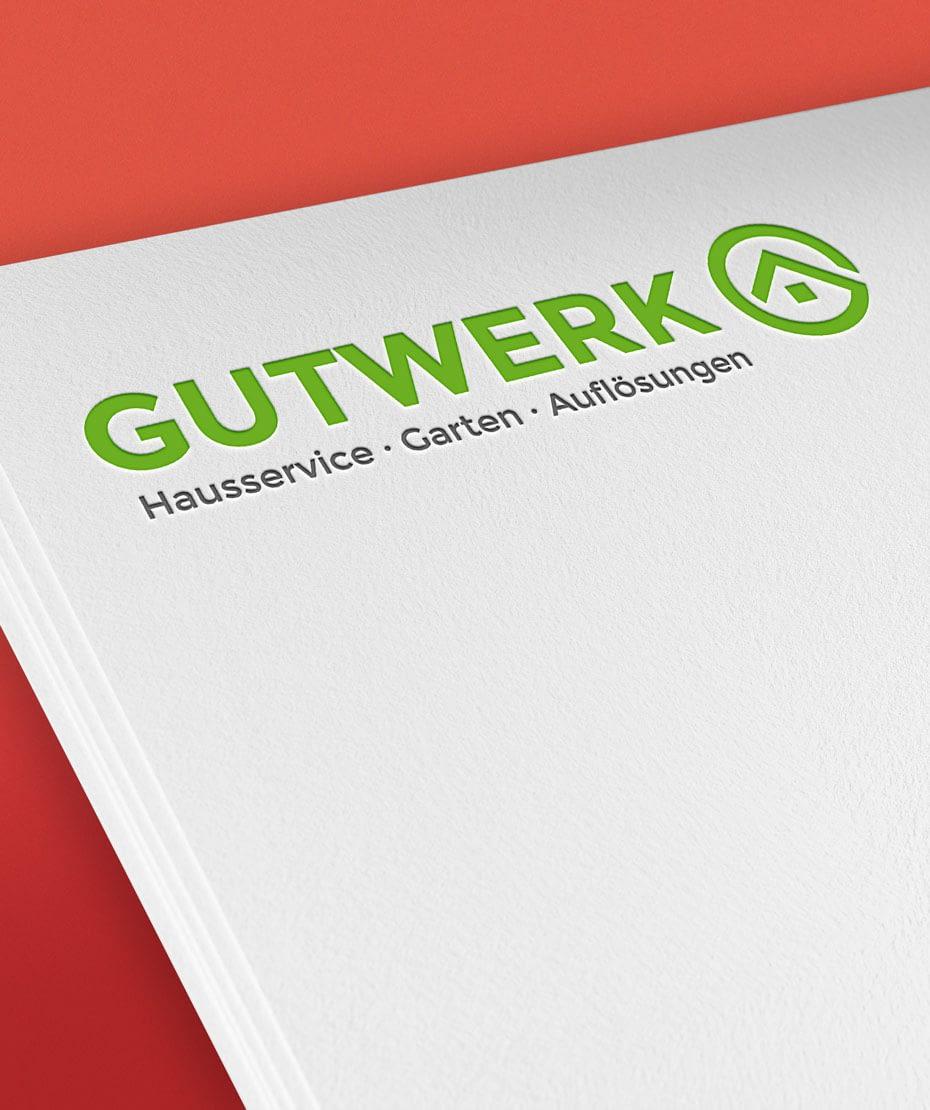 Logo-Design auf Papierbogen - Fa. Gutwerk