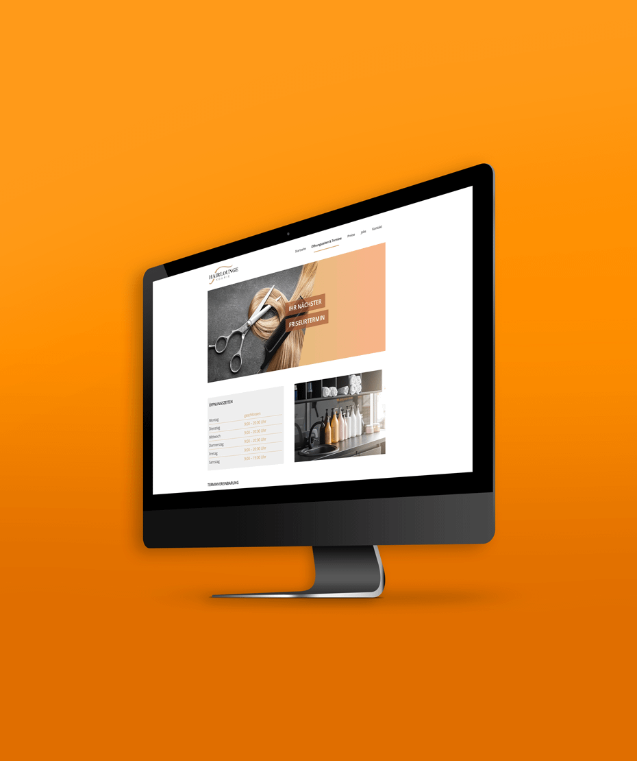 """Webseite bauen für """"Hairlounge Kourie"""""""