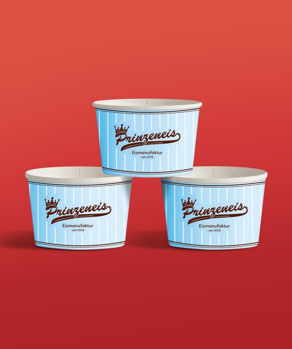Logodesign auf Eisbechern als Werbeartikel - Fa. Prinzeneis