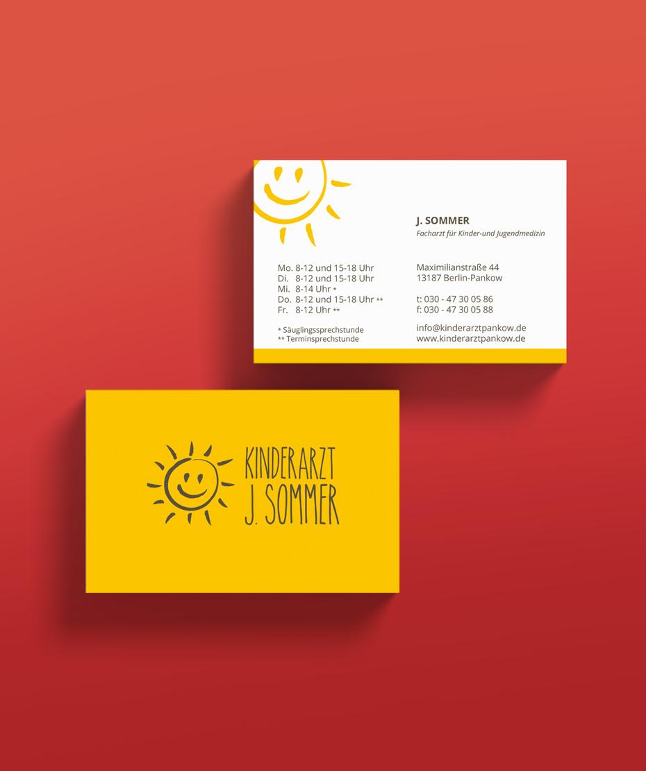 Logodesign auf Visitenkarte - Kinderarzt J. Sommer