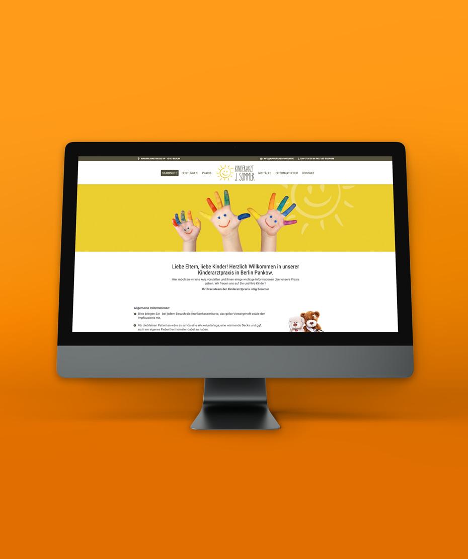 """Design und Programmierung einer Webseite für """"Kinderarzt J. Sommer"""""""