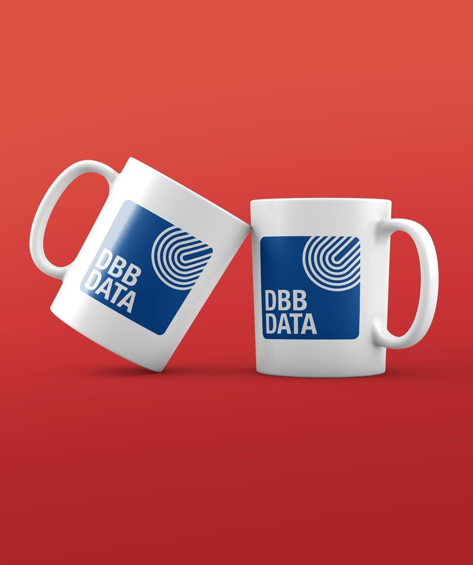 Gestaltung Kaffeetasse für DBB DATA als Werbegeschenk