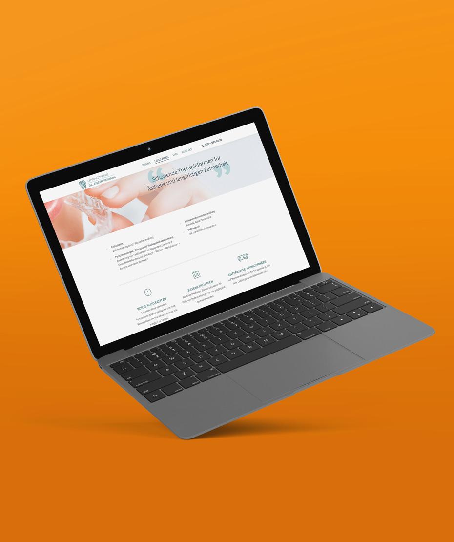 """Webdesign für """"Dr. Henning"""" (Laptop-Ansicht)"""