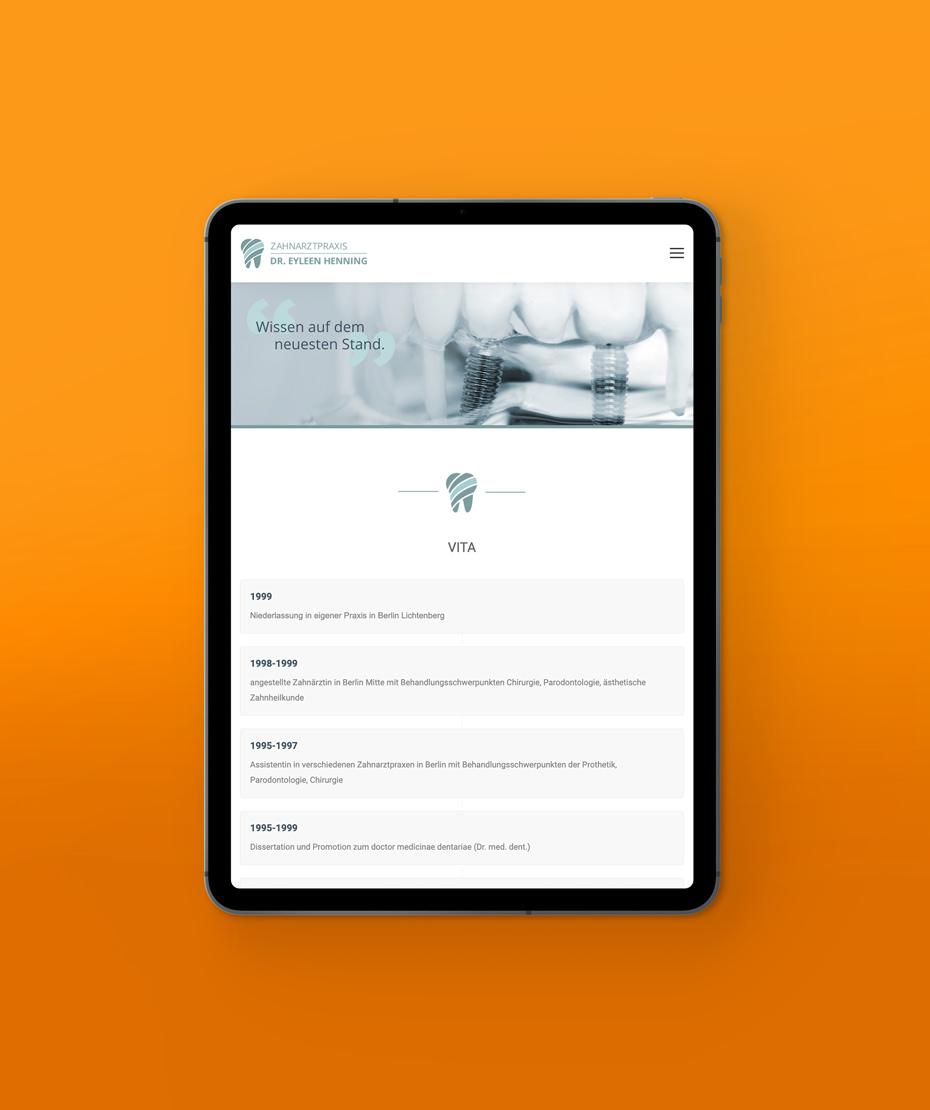 """Design einer Responsive-Webseite für """"Dr. Henning"""""""