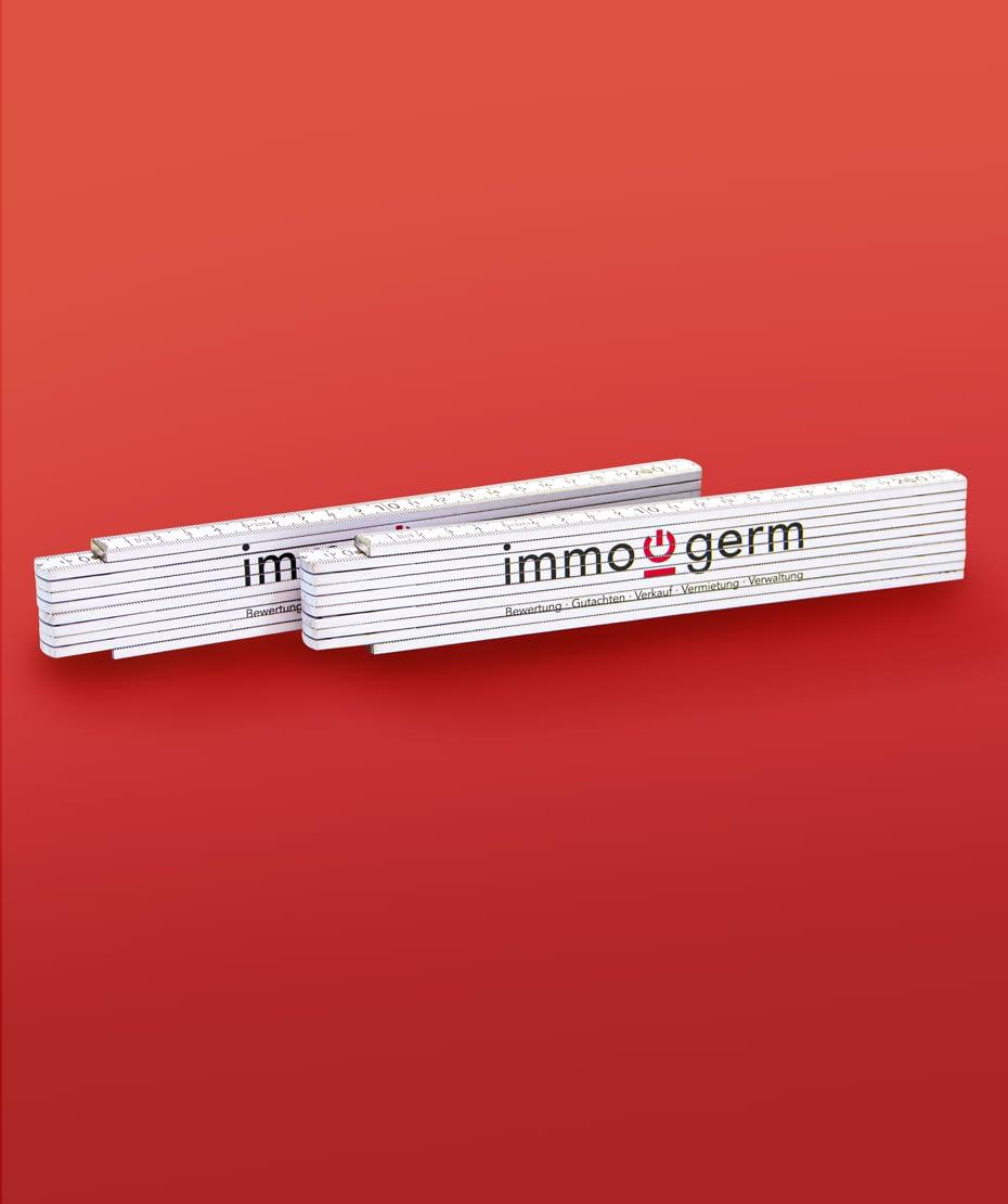 Zollstöcke für Immo Germ als Werbemittel designt von Letus