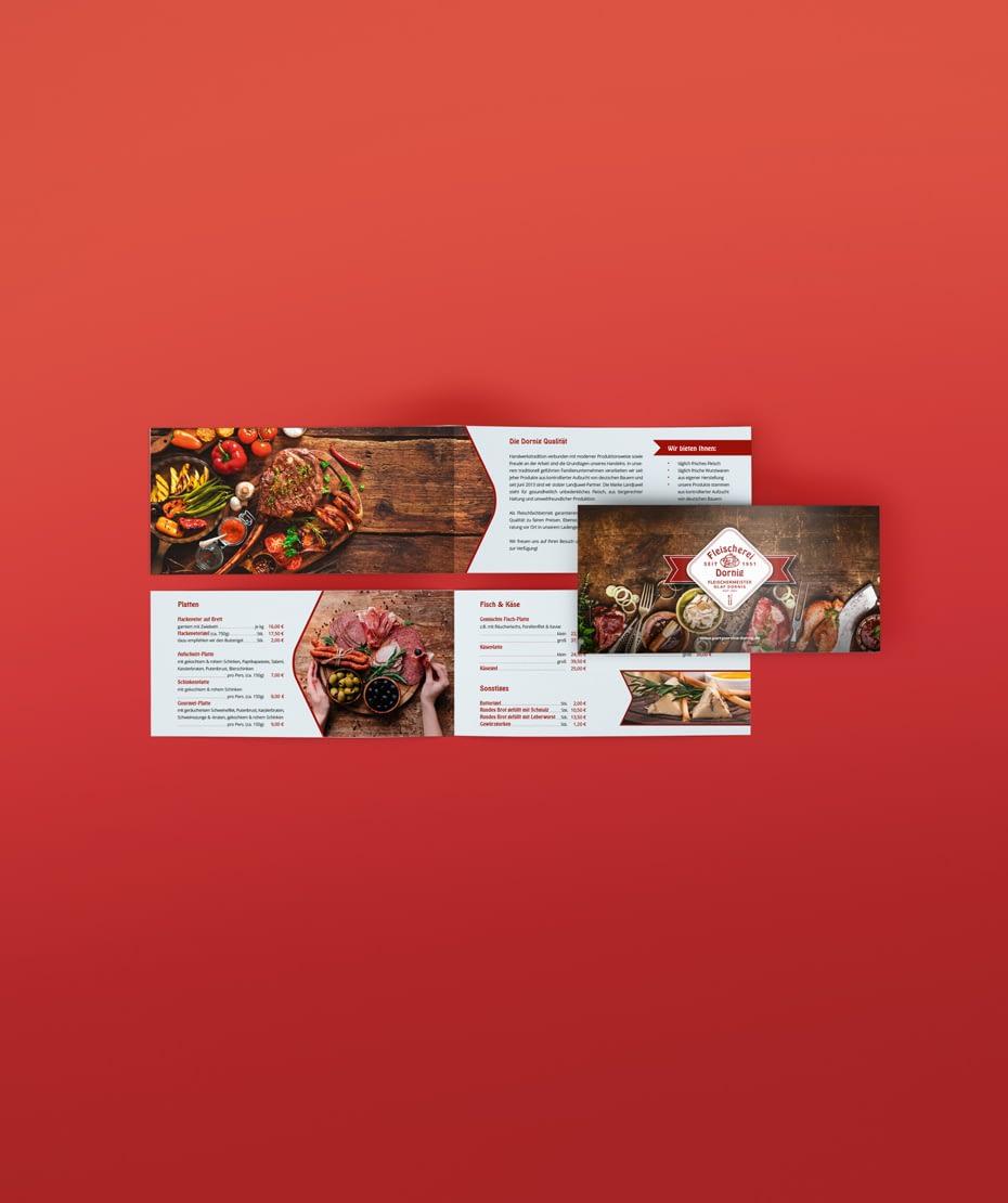 Design & Druck einer Broschüre für Fleischerei Dornig