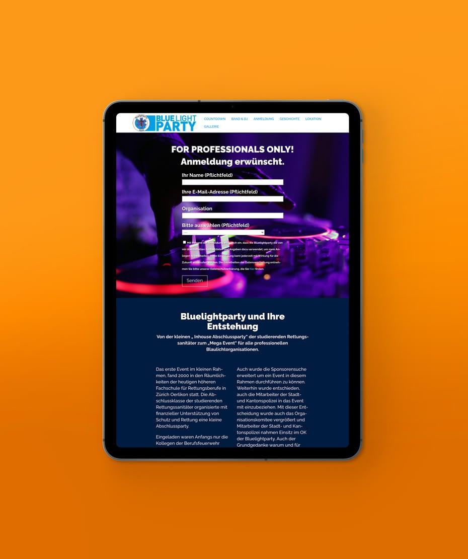 """Design einer Responsive-Webseite für """"BLUELIGHT PARTY"""""""
