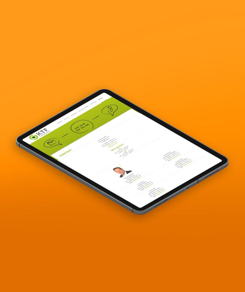 """Webseiten-Gestaltung im Corporate Design für """"KTF"""""""