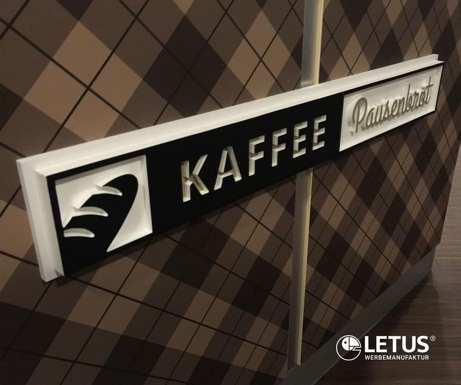 """3D Werbeschild """"Kaffee Pausenbrot"""""""