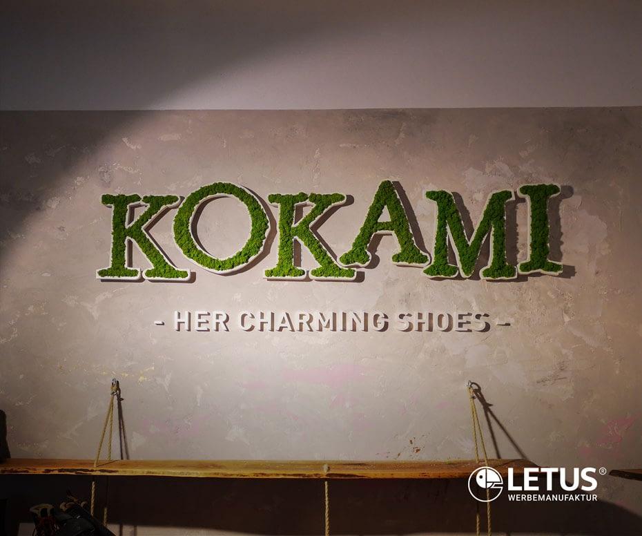 """Werbe-Schriftzug als Fassadenwerbung """"Kokami"""""""